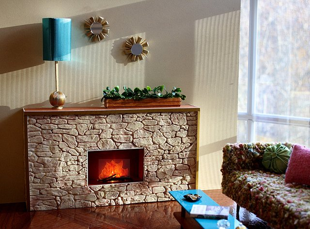 free place into a fireplace