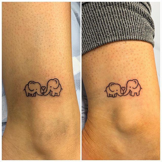 Cute elephants sister tattoos