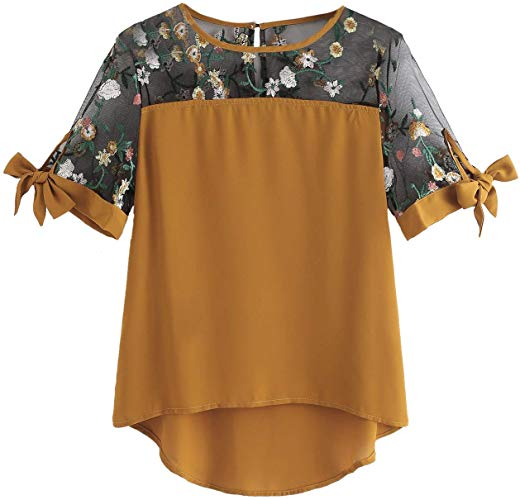 Plus Size Floral Embroidery
