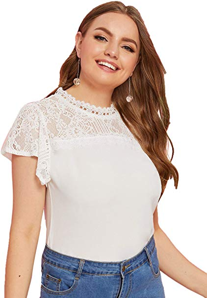 Plus Size Elegant Contrast Lace Round Neck Short Sleeve Yoke Blouse Top