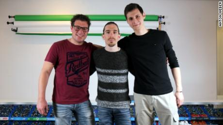 The central trio that make up Jelle's marble races (from left to right: Dion Bakker, Jelle Bakker and Anton Weber)