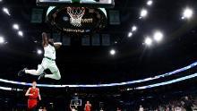 Brown dunks against the Atlanta Hawks at TD Garden on January 3.