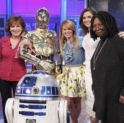 the view christopher walken, matthew perry and thomas lennon are the guests, monday april 11, 2016 on walt disney television via getty imagess photo by lou roccowalt disney television via getty images joy behar, r2 d2, c 3p0, candace cameron bure, paula faris, whoopi goldberg