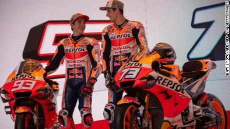 Marc Marquez (L) and his brother Alex Marquez (R) during the official presentation of the Repsol Honda team for the 2020 season in Jakarta on February 4, 2020.