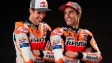 The Marquez brothers in Repsol Honda leathers during the 2020 team press launch
