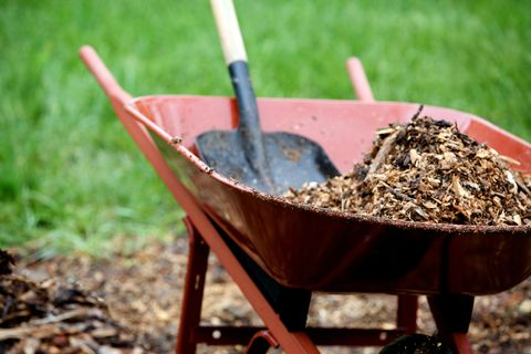 Wheelbarrow and shovel work with landscape mulch