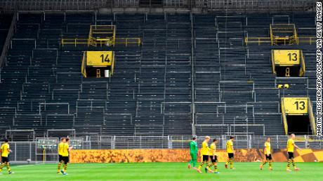 Borussia Dortmund's game against local rival Schalke 04 was played without supporters when football returned.