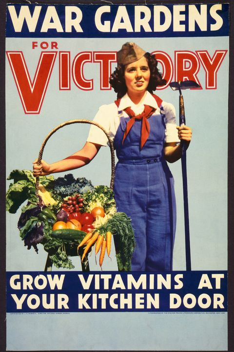 World War II, American propaganda poster with a woman standing with a hoe and basket of vegetables. Original war gardens for the victory Vitamins grow on your kitchen door color poster, halftone with with lithography engraving lithography corporation orchestra New York USA 1942 Photo by Galerie bilderweltgetty images