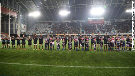 The Otago Highlanders team lined up before the match started at Forsyth Barr Stadium in Dunedin, the first since the restrictions on Covid-19 were largely lifted in New Zealand.
