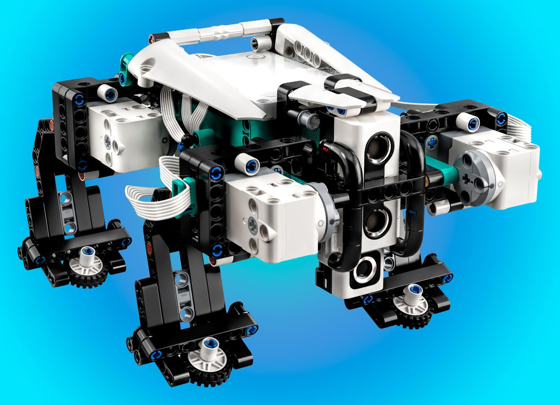 The Lego Mindstorms Gelo, a quadruped robot, is one of five computer-controlled programmable robots available in the Robot Inventor kit.