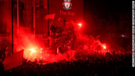 Fans also gathered on Thursday outside Anfield Stadium.