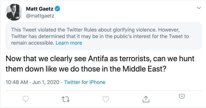 Twitter restricts Republican lawmaker's Antifa tweet for 'glorifying violence' – TechCrunch
