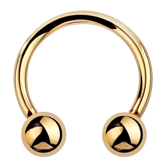 14 karat gold barbell