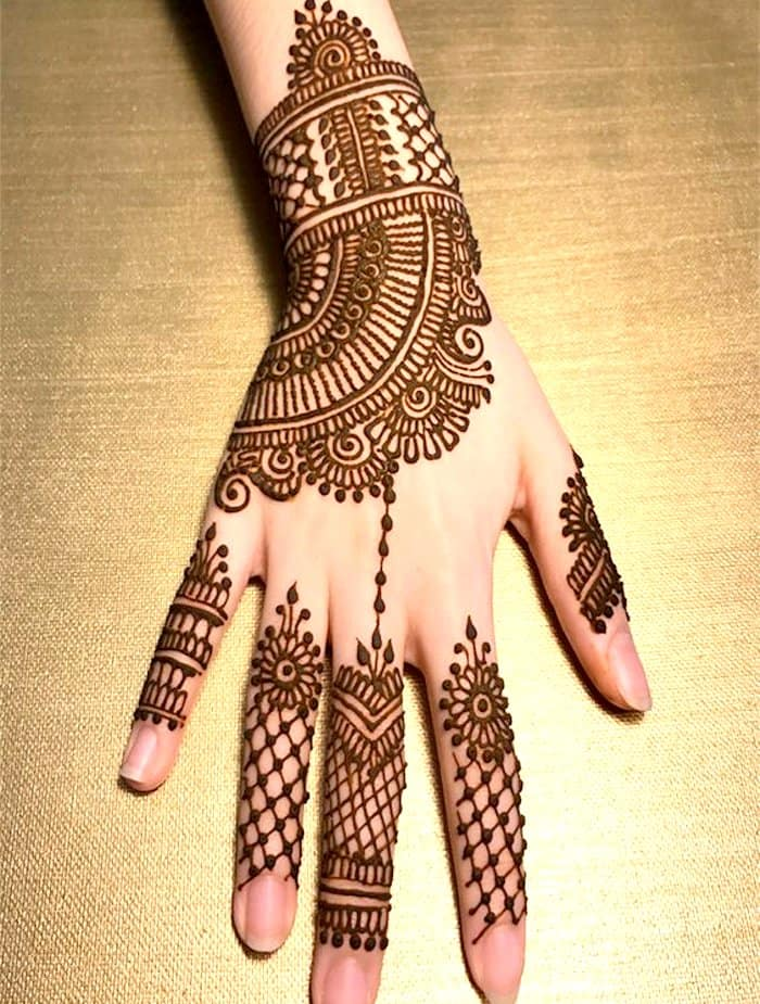 Beautiful henna design for back hand