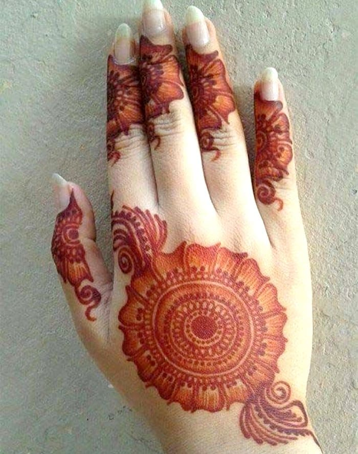 Stunning flower mehndi tattoo