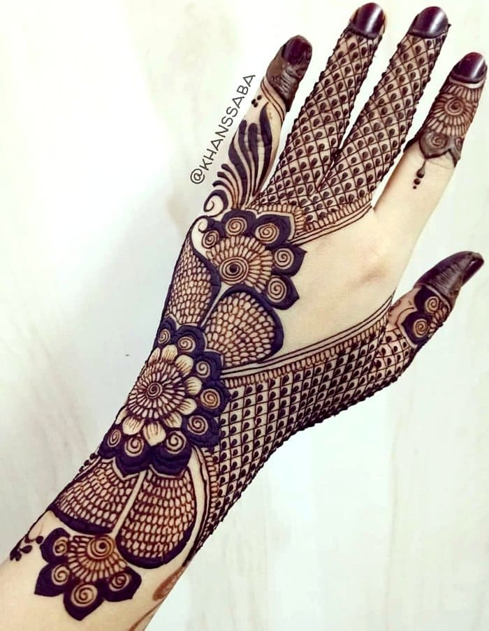 Latest indo-arabic full hand flower mehndi
