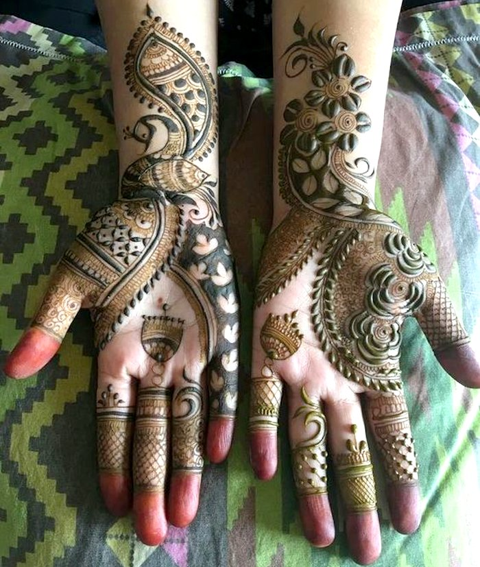 Beautiful mehndi design with peacock