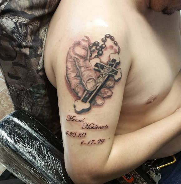 Memorial Tattoos On Biceps