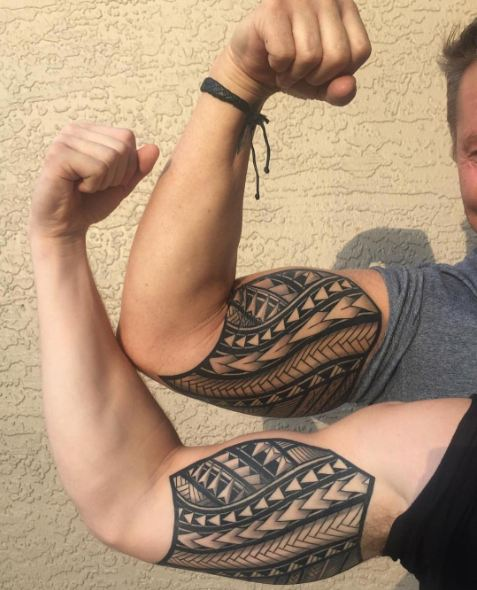 Cool Father Son Tattoos On Inner Biceps