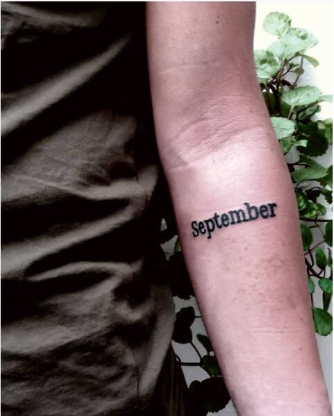 Month Name One Word Tattoos Design
