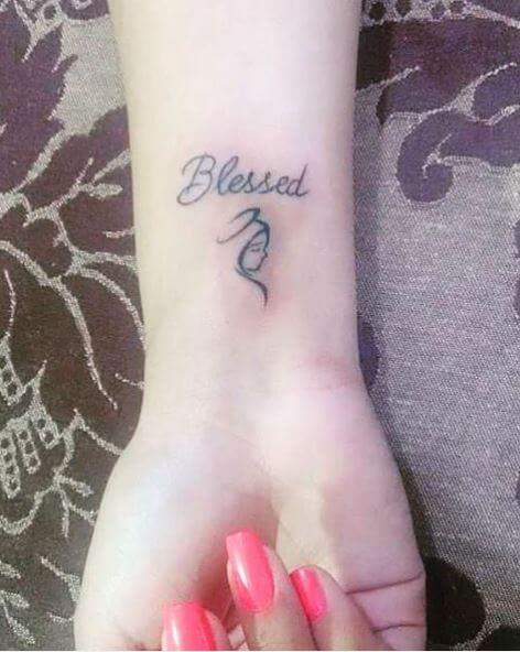 Blessed One Word Tattoos Design And Ideas