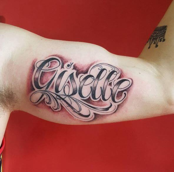 Colored One Word Tattoos Design And Ideas