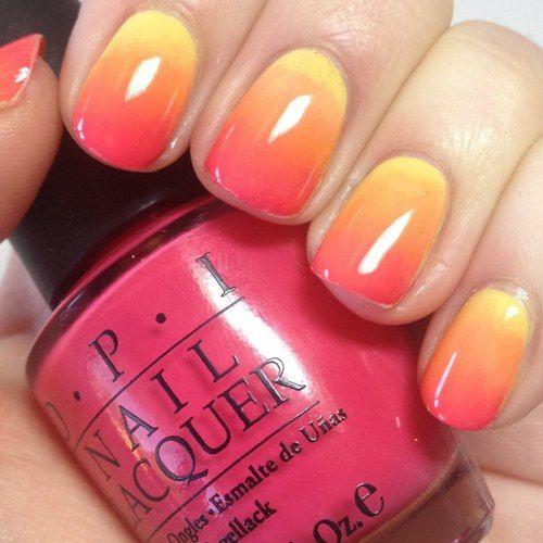 sunset effect nail art