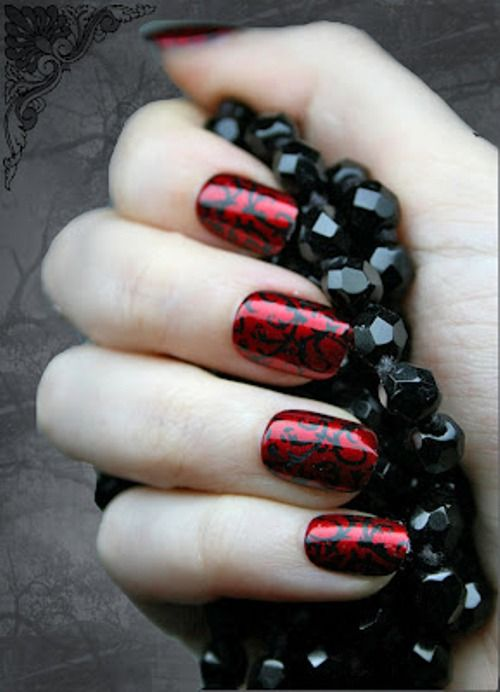 red and black nail art design