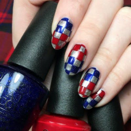 split checkerboard nail art