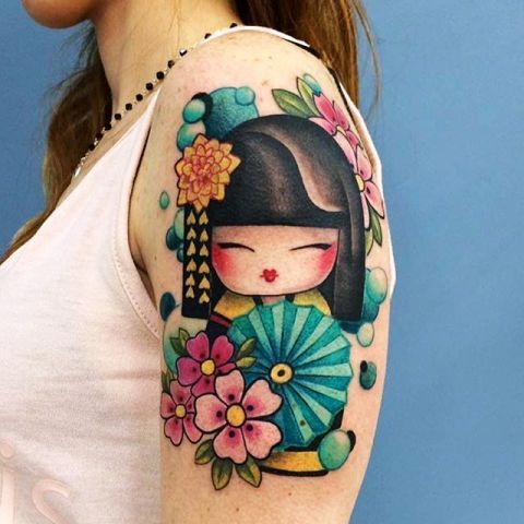 Chinese Kokeshi Doll Tattoo