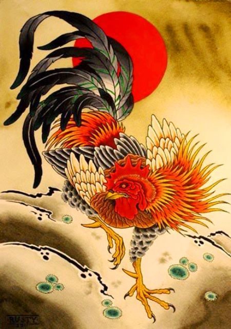Chinese Fire Rooster Tattoo