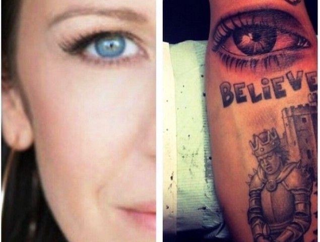 Justin Bieber tattoo Eyeball of his Mother