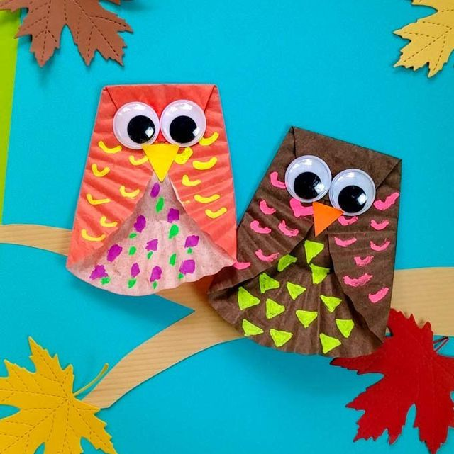 owl fall craft cupcake liner for kids