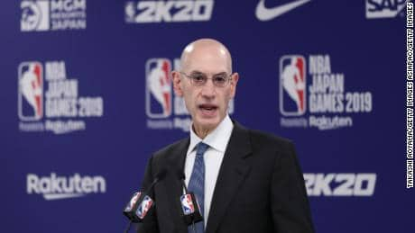Silver speaks at a press conference before the Houston Rockets' pre-game game against the Toronto Raptors in Saitama, Japan.
