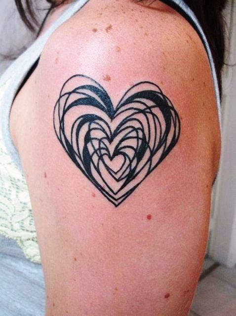 Overlapping Heart Tattoo