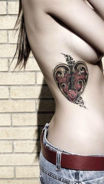Ornate Heart Lock Tattoo