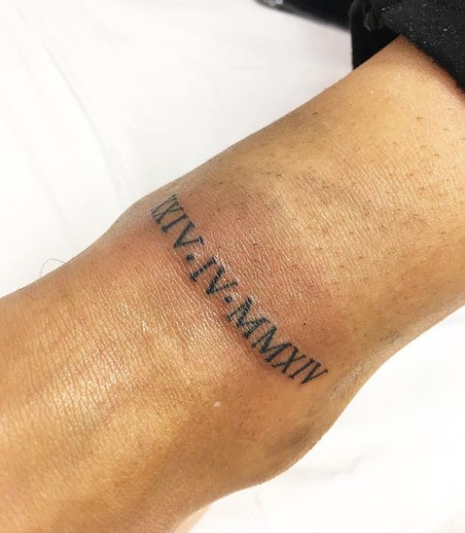 Roman Numerals Date Tattoos On Ankle