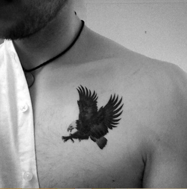 Small eagle tattoo on chest