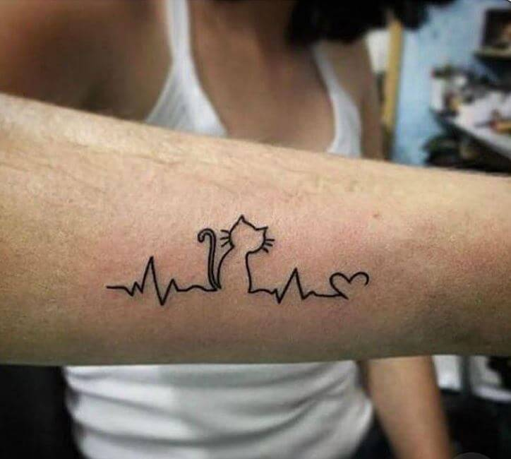 Small cat tattoo on forearm for men