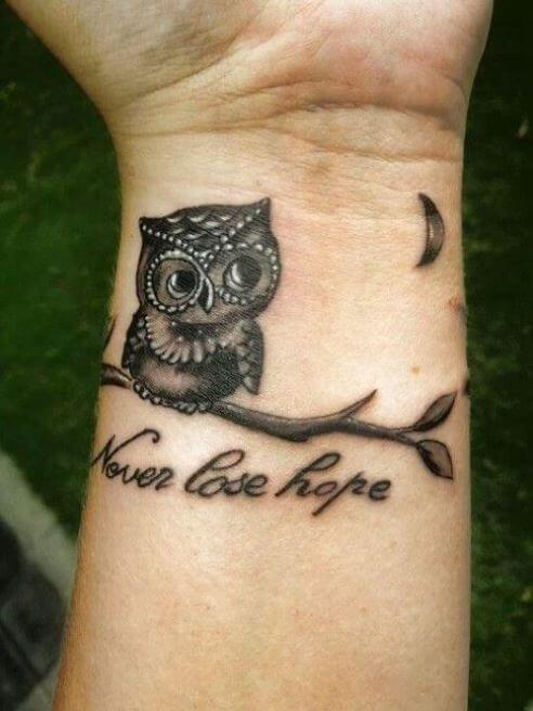 Small owl tattoo for men