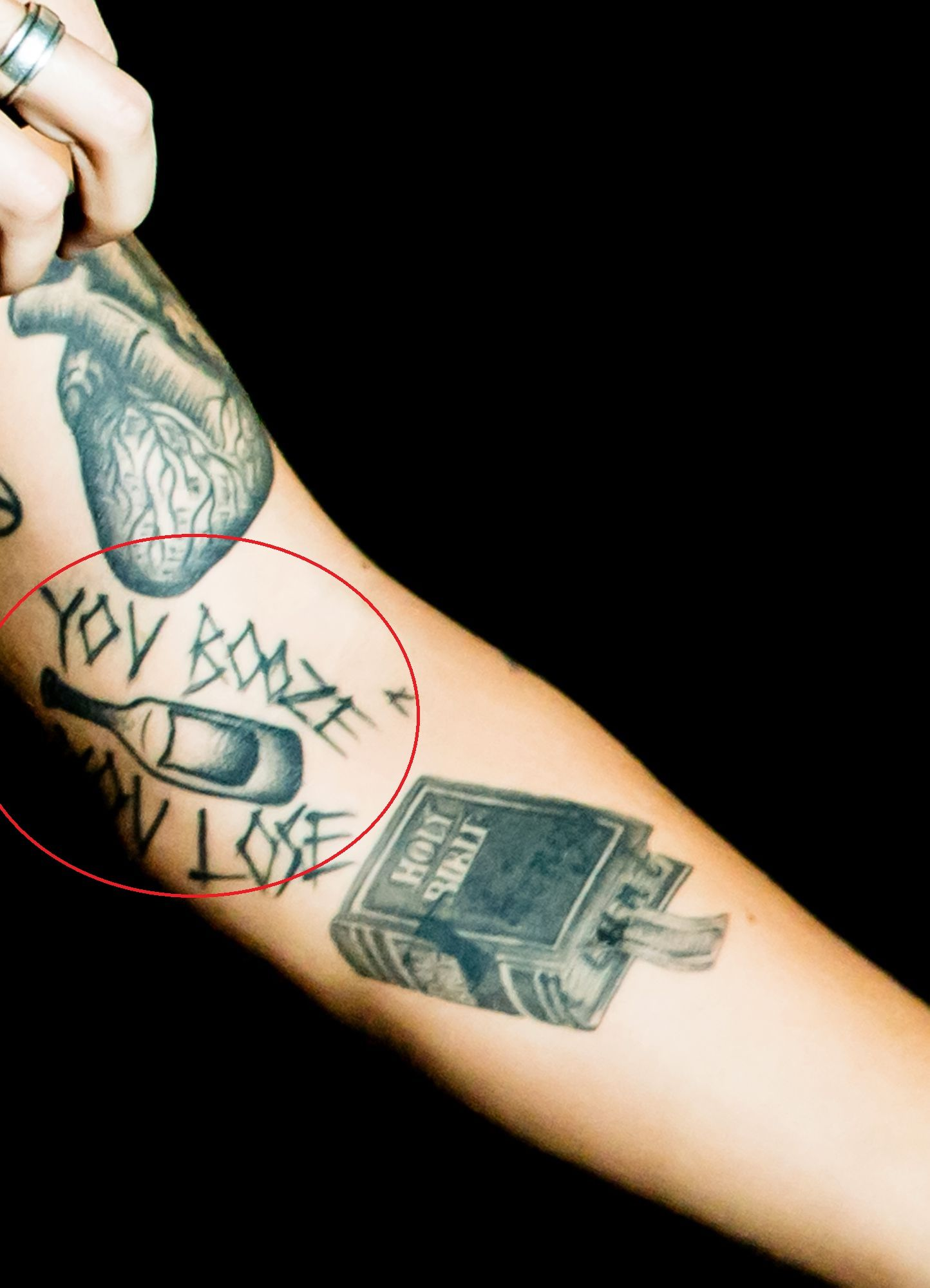 Harry Styles YOU BOOZE YOU LOSE Tattoo-