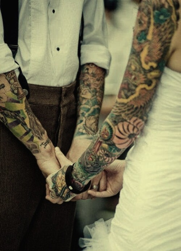 Couple Matching Sleeves Tattoo Designs 20