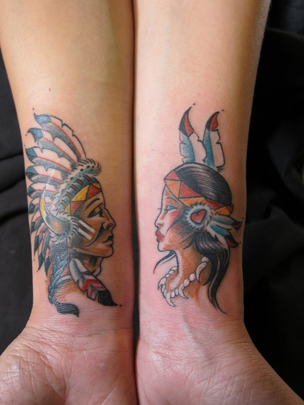 Couple Tribal Indians Tattoo Designs