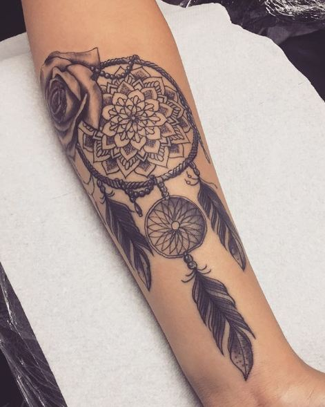 Rose With Dreamcatcher Tattoos On Arm
