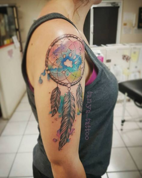 Water Color Dreamcatcher Tattoos