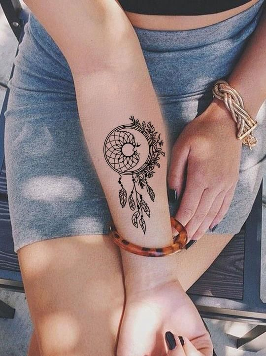 Dreamcatcher With Peacock Feathers Tattoo (1)