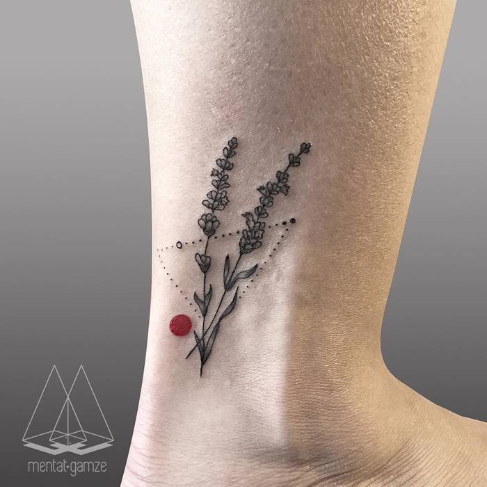 Lavender and red dot on the ankle