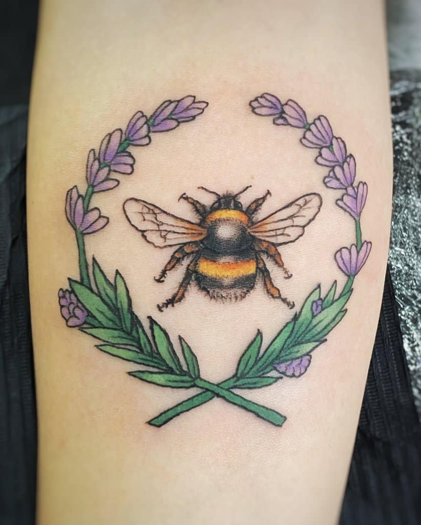 Bumblebee B Colored Lavender Tattoo