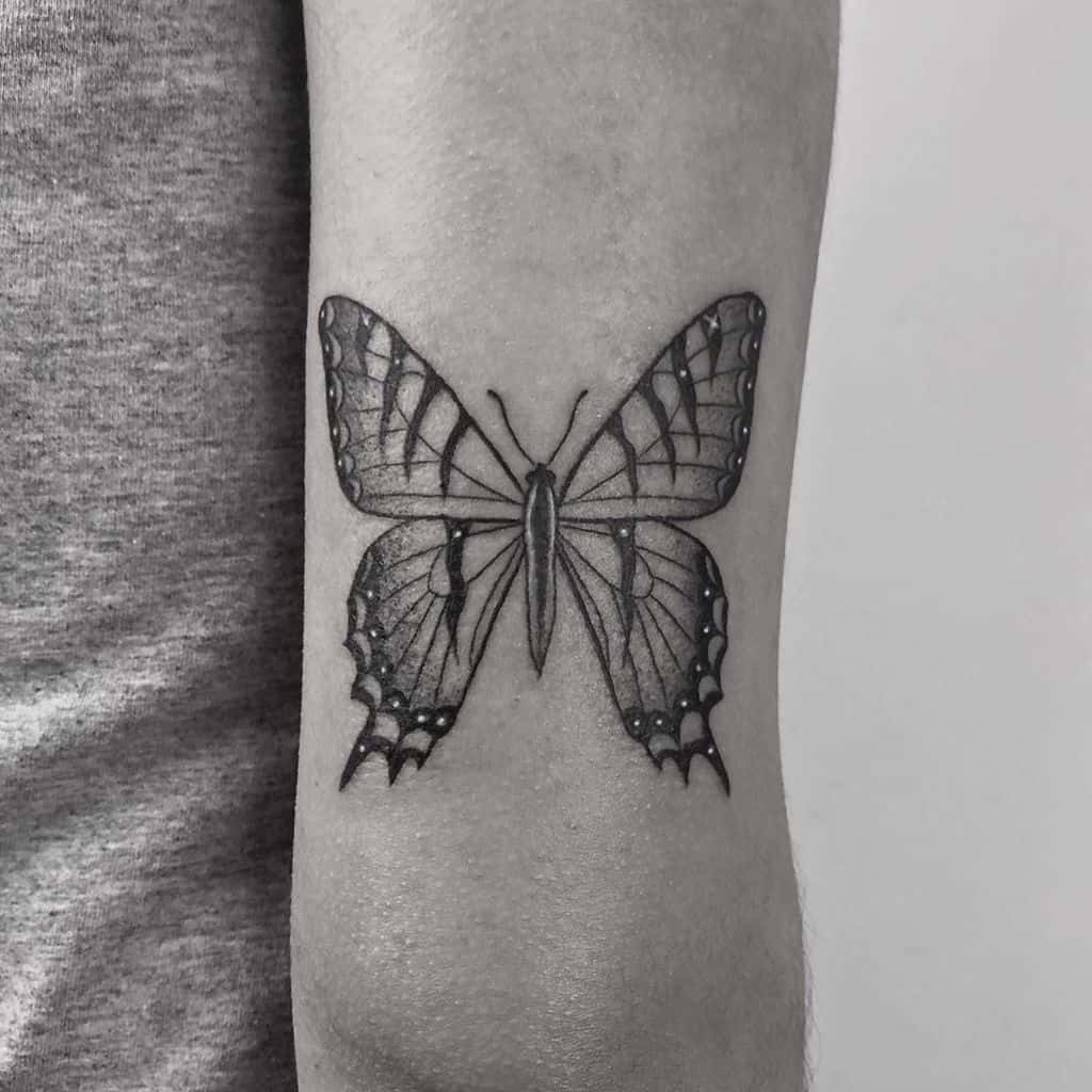 medium-sized black and grey tattoo on back of upper arm of a realistic butterfly
