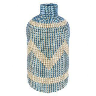 Blue and white woven seagrass objet